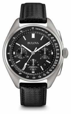 Bulova Mens Special Edition Moonwatch Black Leather Chronograph 96B251
