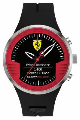Scuderia Ferrari Mens Black Rubber Strap Black Red 0830373