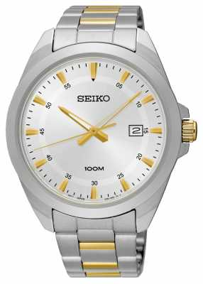 Seiko Mens Two Tone Stainless Steel Silver Dial SUR211P1