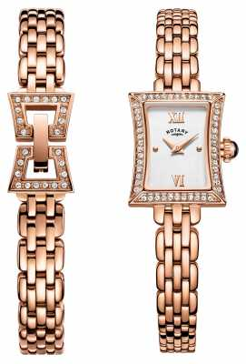 Rotary Womens Rose Gold PVD Plated Bracelet Set LB05059/02/SET