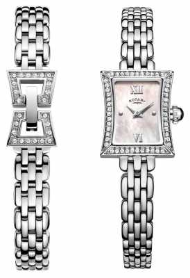 Rotary Ladies Slimline Stainless Steel Quartz Watch & Bracelet Set LB05058/41/SET