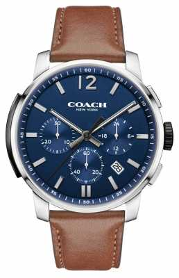 Coach Mens Bleecker Chrono Brown Leather Strap Blue Dial 14602015