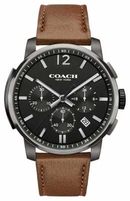 Coach Mens Bleecker Chrono Brown Leather Strap Black Dial 14602017