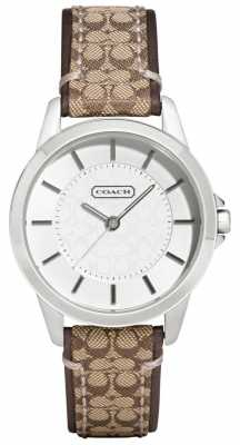Coach Womens Classic Signature Brown Leather Strap White Dial 14501525