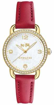 Coach Womens Delancey Red Leather Strap Stone Set Case 14502452