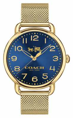 Coach Womens Delancey Gold PVD Plated Blue Dial 14502665
