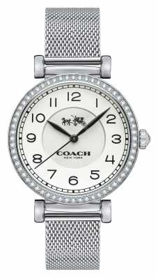 Coach Womens Madison Stainless Steel Mesh Strap White Dial 14502651