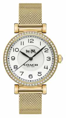 Coach Womens Madison Gold PVD Plated Mesh Strap White Dial 14502652