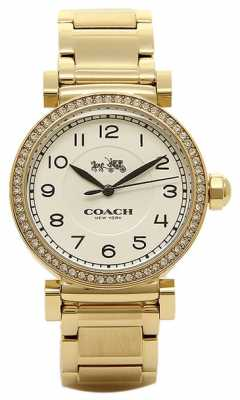 Coach Womens Madison Gold PVD Plated White Dial 14502397