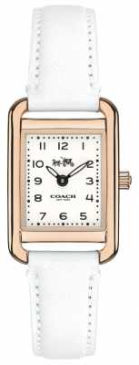 Coach Womens Thompson White Leather Strap White Dial 14502298