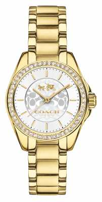 Coach Womens Tristen Gold PVD Plated Silver Dial 14502465