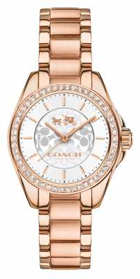 Coach Womens Tristen Rose Gold PVD Plated Silver Dial 14502466
