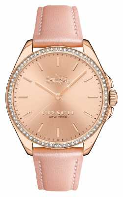 Coach Womens Tristen Pink Leather Strap Rose Gold Dial 14502476