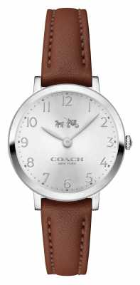 Coach Womens Ultra Thin Brown Leather Strap Silver Dial 14502563