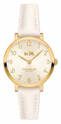 Coach Womens Ultra Thin Chalk Leather Strap Cream Dial 14502564