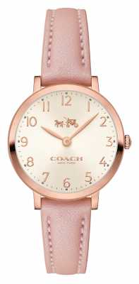 Coach Womens Ultra Thin Pink Leather Strap Cream Dial 14502565