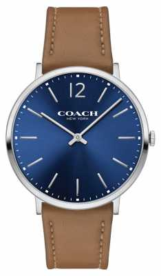 Coach Mens Ultra Thin Brown Leather Strap Blue Dial 14602110