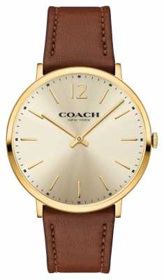 Coach Womens Ultra Thin Brown Leather Strap Gold Dial 14602111