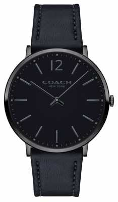 Coach Mens Ultra Thin Black Leather Strap Black Dial 14602112