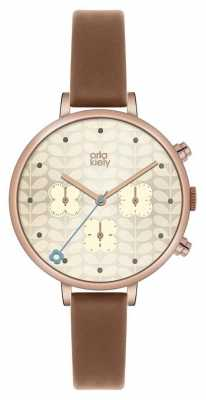 Orla Kiely Womans Tan Leather Rose Gold Plated OK2040