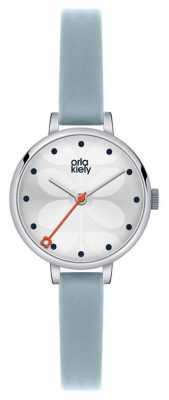 Orla Kiely Womans Blue Leather Strap White Dial OK2015