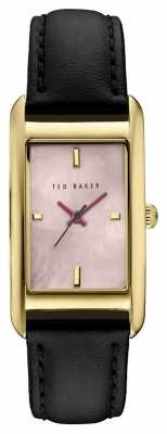 Ted Baker Womans Gold Plated Square Case Black Leather TE10030752