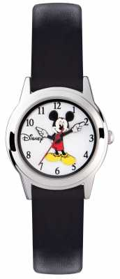 Disney Adult Mickey Mouse Silver Case Black Strap MK1314