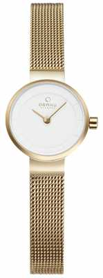 Obaku Womans Gold Mesh And White Metal Watch V199LXGIMG