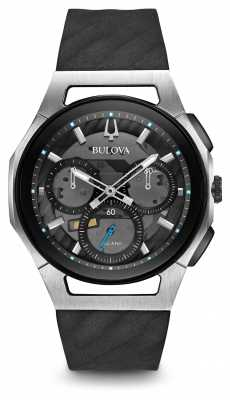 Bulova Mens Curv Chronograph Black Leather Strap 98A161