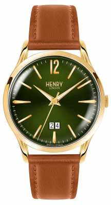 Henry London Mens Chiswick Green Face Tanned Leather Strap HL41-JS-0188