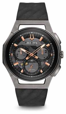 Bulova Mens Curv Chronograph Black Leather Strap Rose Gold 98A162