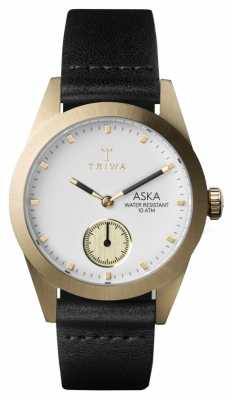 Triwa Womans Ivory Aska Black Leather AKST101-SS010113