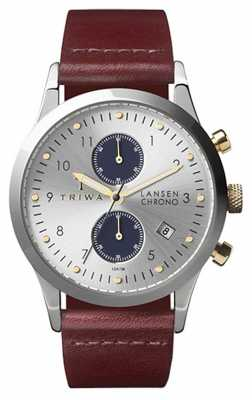 Triwa Mens Lansen Chrono Silver Brown Leather LCST115-CL010312