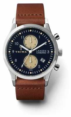 Triwa Unisex Pacific Lansen Chronograph Navy Brown Leather LCST117-CL010212