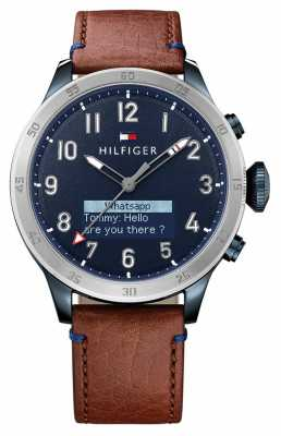 Tommy Hilfiger TH 24/7 Smartwatch Brown Leather Strap Blue Dial 1791300