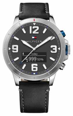 Tommy Hilfiger TH 24/7 Smartwatch Black Leather Strap And Black Dial 1791298