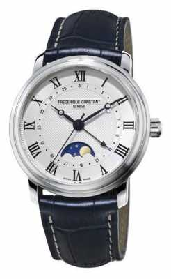 Frederique Constant Mens Classic Moonphase Black Leather FC-330MC4P6