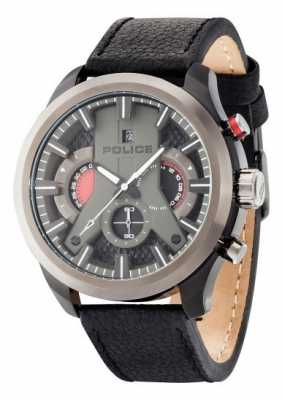 Police Mens Cyclone Black Dial And Leather Strap 14639JSBU/02