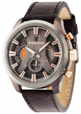 Police Mens Cyclone Brown Leather Strap Gun Dial 14639JSBZU/61