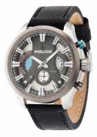 Police Mens Cyclone Black Leather Strap Silver Dial 14639JSTU/04