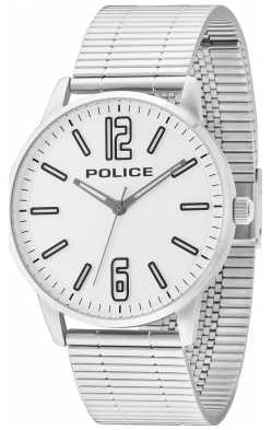 Police Mens billette d'acier inoxydable esquire cadran blanc 14765JS/04M