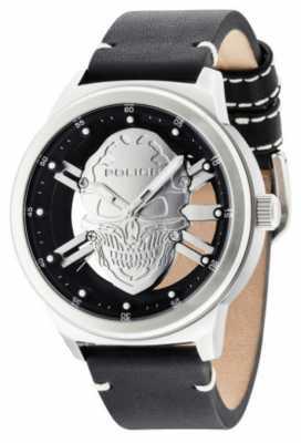 Police Mens Predator Silver Skull Black Leather Strap 14685JS/04