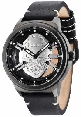 Police Mens Predator Silver Skull Black Leather Strap 14685JS/04