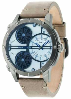 Police Mens Rattlesnake Beige Multidial Leather Strap 14699JSU/07