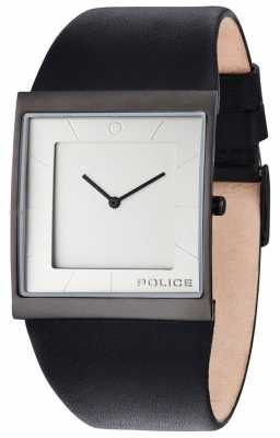 Police Mens Skyline Black Leather Strap Silver Dial 14694MSB/04