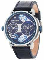 Police Mens Steampunk Blue Dial Blue Leather Strap 14693JSTBL/03