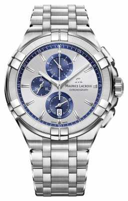 Maurice Lacroix Mens Aikon Chronograph Stainless Steel Blue AL1018-SS002-131-1