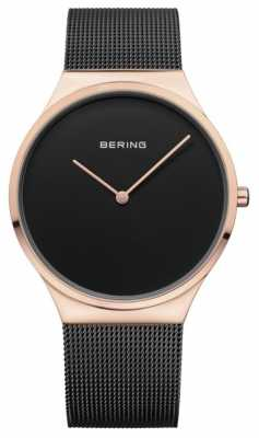 Bering Womans Classic Mesh Black Rose Gold Case 12138-166