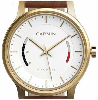 Garmin Mens Vivomove Leather Strap White Brown 010-01597-21