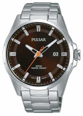 Pulsar Gents Stainless Steel Brown Face Watch PS9507X1